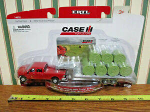 Case IH Dodge Ram Pickup With Trailer & Bales By Ertl 1/64th Scale