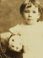 Charming cabinet card portrait Victorian toddler with white cat