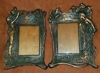 Pair of Cast Iron w/ Copper Wash Photo Frame VTG Art Nouveau Style Woman Floral