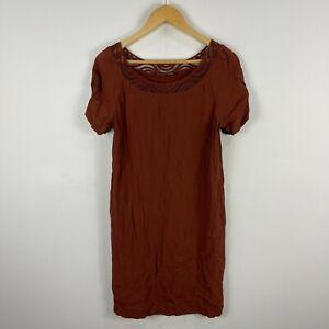 Comptoir des Cotonniers Womens Dress Size 42 AU 8 Brown Short Sleeve 204.05