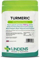 Turmeric 500mg 100 Capsules Curcumin Anti Inflammatory Antioxidant Lindens UK