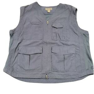Duluth Trading Company Men's XL Gray Fishing Vest Mesh Sides Multi-Pockets