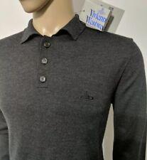 f449606a9e Vivienne Westwood Mens Jumper Charcoal Pure Wool Polo Sweater Sz L