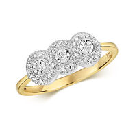 9ct Yellow Gold Three diamond Cluster Ring FREE POSTAGE LARGE SIZES