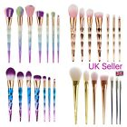 10Pc PRO Unicorn Diamond Mermaid Makeup Brushes Set Powder Foundation Contour