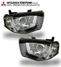 MITSUBISHI TRITON L200 MN ML 2005-2014 CCFL PROJECTOR HEADLIGHT BLACK SMOKE LENS