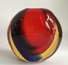 Striking Signed  Signoretto  Murano  Vase,Red, Blue, & Amber Otello