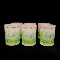 Neiman Marcus Lowball Rocks Bar Glasses Frosted Floral Decoration Barware Set 6