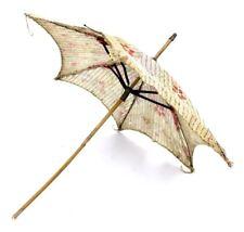 """Antique Victorian Parasol Linen Floral Print Needs Repair Doll Umbrella? 18"""""""