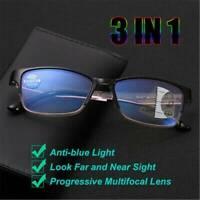 3in1 Glasses Progressive Multifocal Lens Anti-blue Light Presbyopia Eyeglasses J