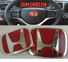 3pcs. 16-17 Honda Civic 5DR Hatchback JDM Red Emblem logo Front /back /steering