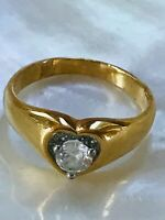 Vintage Tapered Goldtone Band with Clear Rhinestone Inside Heart Ring Size 9.5 –