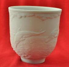 """LLADRO 17658 DOLPHINS AT PLAY 1998 MEMBER VOTIVE CUP CANDLE HOLDER 3.5"""" IN A BOX"""