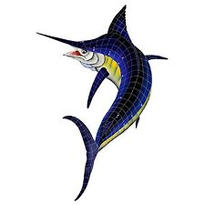 "Mosaic Marlin for Swimming Pool or Wall  - Very Large 80"" x 54""  - FREE SHIPPING"