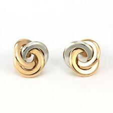 14k Rose/White Gold Interlocking Circles Earring(new, 2.21gr)#3661