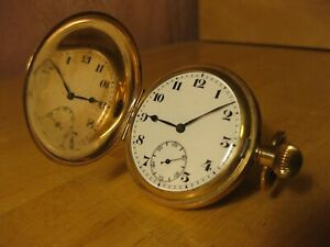 RECORD GOLD PLATED FULL HUNTER ANTIQUE VINTAGE POCKET WATCH