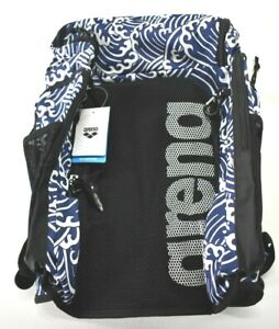 Arena Team Backpack 45L Large All Over Waves Print Blue Swimming Carry Bag