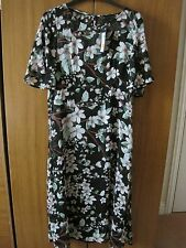 BNWT LADIES M&S COLLECTION SIZE 10 REG SHEER FABRIC BLACK MIX SHORT SLEEVE DRESS