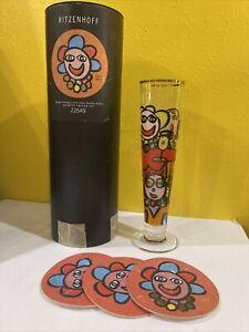 1997 Ritzenhoff Pilsner Beer Glass, Maarten Vrolijk Germany,coasters 22649