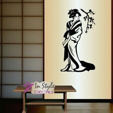 Vinyl Decal Japanese Geisha Woman Asian Sakura Cherry Branch Wall  Sticker 1423