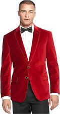 Mens Fashion DESIGNER Red Grooms Wedding Tuxedo Casual Velvet Coat Jacket Blazer