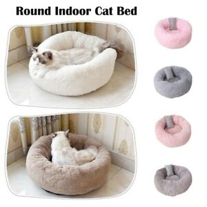 Plush Puppy Pet Dog Cat Bed Cover Donut Round House Mat Nest Cushion w/Pillow