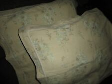 SIMPLY SHABBY VINTAGE FLORAL LINEN GREEN TAUPE (2) STANDARD PILLOW SHAMS 20 X 27