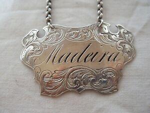 """MADEIRA"" WINE LABEL ANTIQUE STERLING SILVER (GU) BIRMINGHAM 1849"