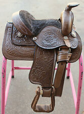 "8"" Western Leather Kids Saddle Brown Miniature Toddler Saddle"