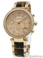 New Michael Kors Parker Women Rose Gold Chrono Tortoise Watch 40mm MK5538 $295