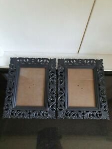 2 Black Plastic Gothic Style Picture Frames