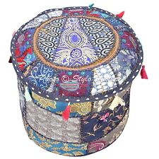 Ethnic Round Pouf Cover Patchwork Embroidered Living Room Ottoman Bohemian 18""
