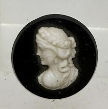 Antique Vintage Molded Glass Carved White Black Cameo Lady Woman