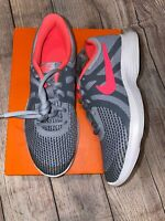 Nike 4Y Or 5.5Y Revolution 4 Wolf Grey Pink Athletic Sneakers NEW