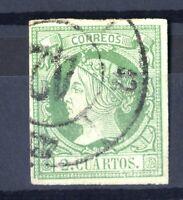 Sellos de España 1860-61 2 cuartos  nº 51  verde s.verde Isabel II matasellado