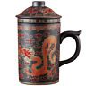 Hand Painted Dragon Clay Tea Mug with Lid and Infuser Ceramic Chinese Tea Cup