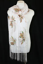 B70 Dragonfly Metallic Sequin White Boutique Scalloped Shawl Scarf $145