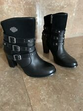Harley-Davidson Black Leather High Heel Boots Women's Size 9.5 Good Looking