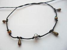 Black string anklet bronze droplet glass & crystal bead karmastring Surfer Gypsy