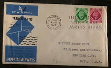 1939 London England First Flight Transatlantic Cover To New York Usa Imperial