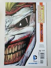 TEEN TITANS #15 (2013) DEATH OF THE FAMILY DIECUT JOKER MASK! SIGNED LOBDELL! NM