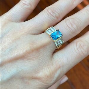 14K Solid Real Yellow Gold March Aquamarine Birthstone CZ Ring Size 7.75 Unisex
