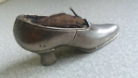 VINTAGE SILVER PLATED BOOT / SHOE PIN CUSHION  --DAMAGED