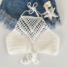 Women Crochet Lace Bralette Knit Bra Boho Beach Bikini Halter Cami Tank Crop new