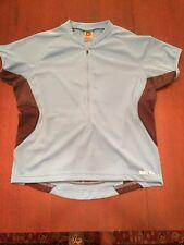 REI Blue/Black Cyclers L Women's Shirt W/ 3/4 Zipper Loose Fit Back Pockets