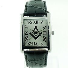 Masonic, Water Resistant Watch Japanese Movement Stainless Steel Genuine Leather
