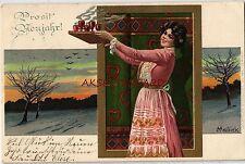 Kunst- & Kultur-Ansichtskarten vor 1914 mit dem Thema Neujahr