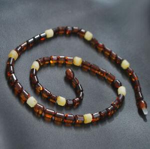 Mens natural Baltic amber necklace elegant polished cognac butterscotch