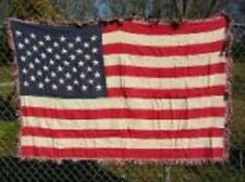 USA 50 Stars Flag 4ft x 6ft Cotton Woven Throw Blanket Super Comfy