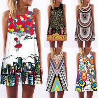 Boho Women Summer Floral Beach Short Mini Dress Evening Party Cocktail Sundress